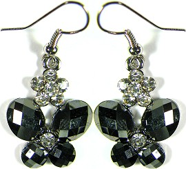Obsidian Butterfly Crystals Silver Earrings Ger496