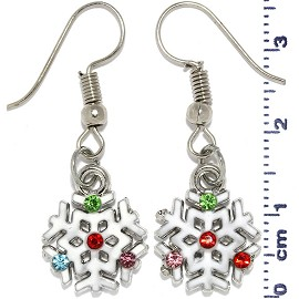 Christmas Snowflake Rhinestones Dangle Earrings White Ger552