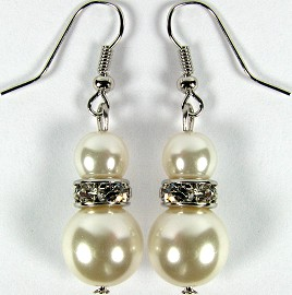 Cream Smooth Pearl Crystal Earrings GER553