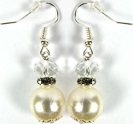 Cream Smooth Pearl Crystal Earrings GER555