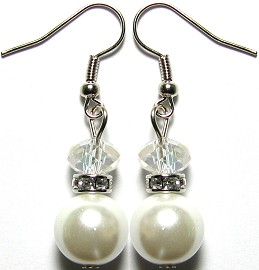Pearl Crystal Earrings Silver White GER657