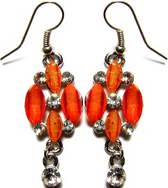 Crystal Earrings Silver Orange 4L Flower GER727