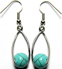 Stone Earrings Earth Turquoise Beads GER744