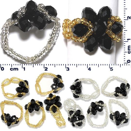 12 Pieces Flower Oval Bead Rings Gold Silver Black Gem09