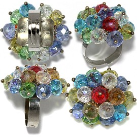12 Pieces Crystal Flower Rings Size Adjustable Multi Color Gem11