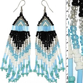 Dangle Earrings Beads Tubes Silver Tone Turquoise Black Ger002