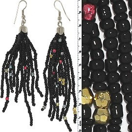 Dangle Earrings Beads Silver Tone Black Magenta Ger006