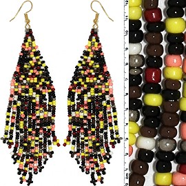 Dangle Earrings Beads Gold Tone Multi Color Yellow Ger008