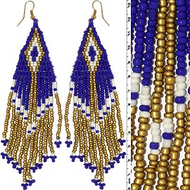 Dangle Earrings Beads Gold Tone Blue White Ger009