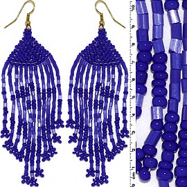 Dangle Earrings Beads Tubes Gold Tone Blue Ger010