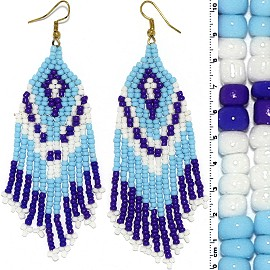 Dangle Earrings Beads Gold Tone Turquoise Blue White Ger012