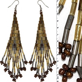 Dangle Earrings Beads Tubes Silver Tone Light Gold Brown Ger017
