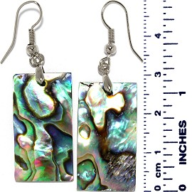 Dangle Abalone Earrings Rectangle Green Ger028