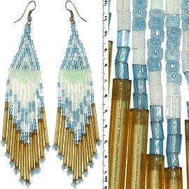 Dangle Earrings Beads Tubes Silver Tone Turquoise White G Ger036