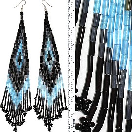 Dangle Earrings Beads Tubes Silver Tone Black Turquoise G Ger045