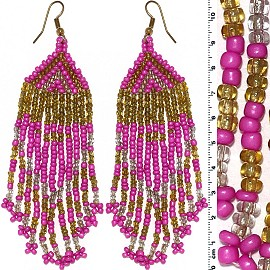 Dangle Earrings Beads Gold Tone Magenta Tan Clear Ger058
