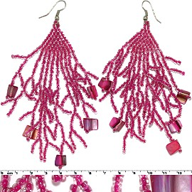 Dangle Earrings Beads Shells Silver Tone Magenta Ger059