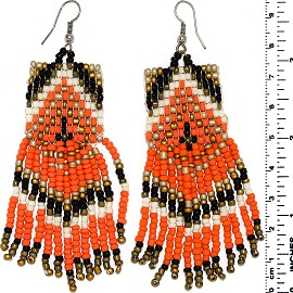 Dangle Earrings Beads Silver Tone Orange Black Gold White Ger061