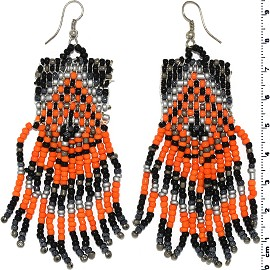 Dangle Earrings Beads Silver Tone Orange Black Gray Ger063