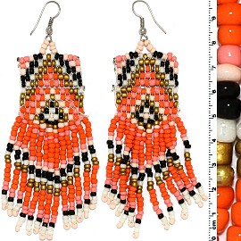 Dangle Earrings Beads Silver Tone Orange Gold Black White Ger067