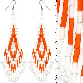 Dangle Earrings Beads Tubes Silver Tone Orange White Ger069