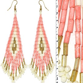 Dangle Earrings Beads Tubes Gold Tone Peach White Ger071