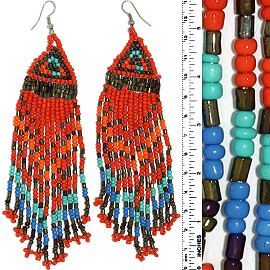 Dangle Earrings Beads Silver Tone Red Orange Gray Blue Ger081