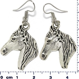 Dangle Horse Head Earrings Metallic Silver Tone Ger082
