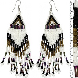 Dangle Earrings Beads Silver Tone White Black Bronze Ger093