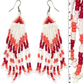 Dangle Earrings Beads Silver Tone White Red Peach Ger095