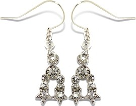 Crystal Rhinestone Earrings Silver Clear Ger1018
