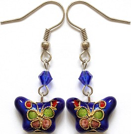 Cloisonné Earrings Butterfly Blue Ger1072