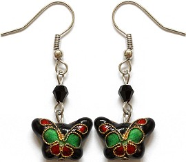 Cloisonné Earrings Butterfly Black Green Ger1074