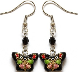 Cloisonné Earrings Butterfly Black Pink Lime Green Ger1075