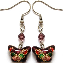 Cloisonné Earrings Butterfly Purple Red Ger1076