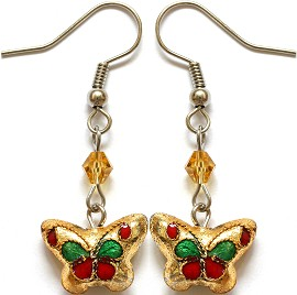 Cloisonné Earrings Butterfly Gold Ger1077