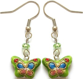 Cloisonné Earrings Butterfly Lime Green Ger1080