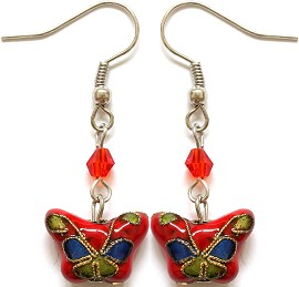Cloisonné Earrings Butterfly Red Blue Green Ger1081