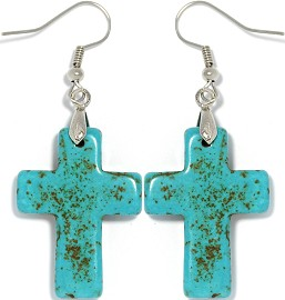 Earth Stone Cross Earrings Turquoise Ger1157