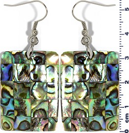 Abalone Earrings Rectangle Green Ger1349