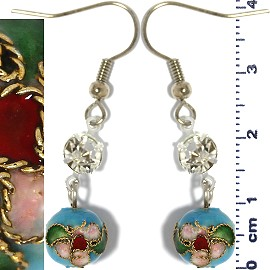 Cloisonné Earrings Bead Ball Turquoise Ger1356
