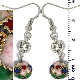 Cloisonné Earrings Bead Ball Green Ger1357