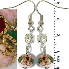 Cloisonné Earrings Bead Ball White Ger1358