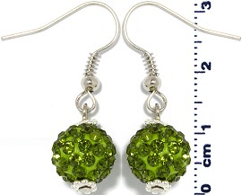 Rhinestone Earrings Disco Ball Dark Green Ger1368