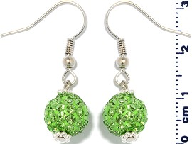 Rhinestone Earrings Disco Ball Lime Green Ger1369