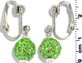 Rhinestone Earrings Clip On Disco Ball Lime Green Ger1370