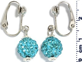 Rhinestone Earrings Clip On Disco Ball Turquoise Ger1371