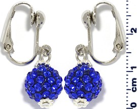 Rhinestone Earrings Clip On Disco Ball Blue Ger1373