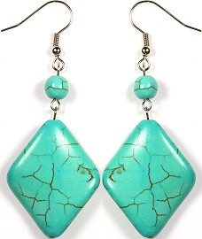 Stone Earrings Earth Turquoise Rhombus Ger139