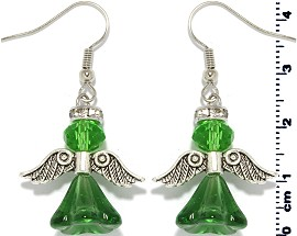 Crystal Earrings Angel Green Silver Ger1402
